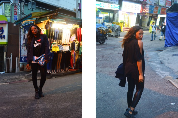 Namdaemun Market, Seoul, jeans with leather, cut out ankle boots