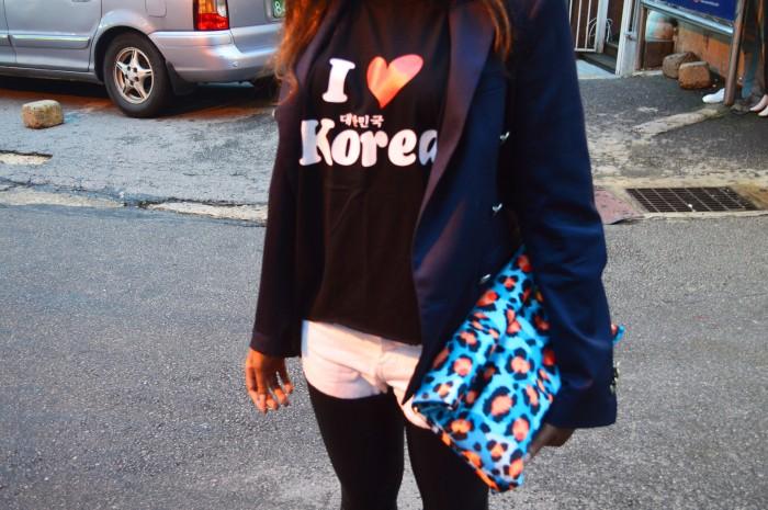I heart Korea, Namdaemun Market, Seoul, jeans with leather, Zara Blazer