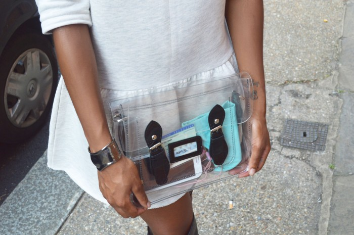 gladiator boots, transparent bag