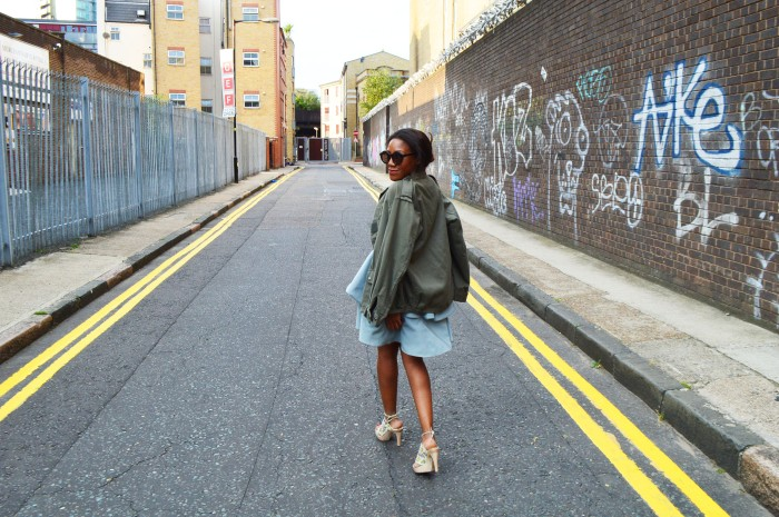 military jacket frill dress vintage butterfly heels round tortoise sunglasses