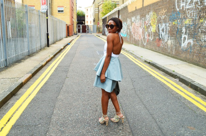 open back mint frill dress round tortoise sunglasses vintage butterfly heels