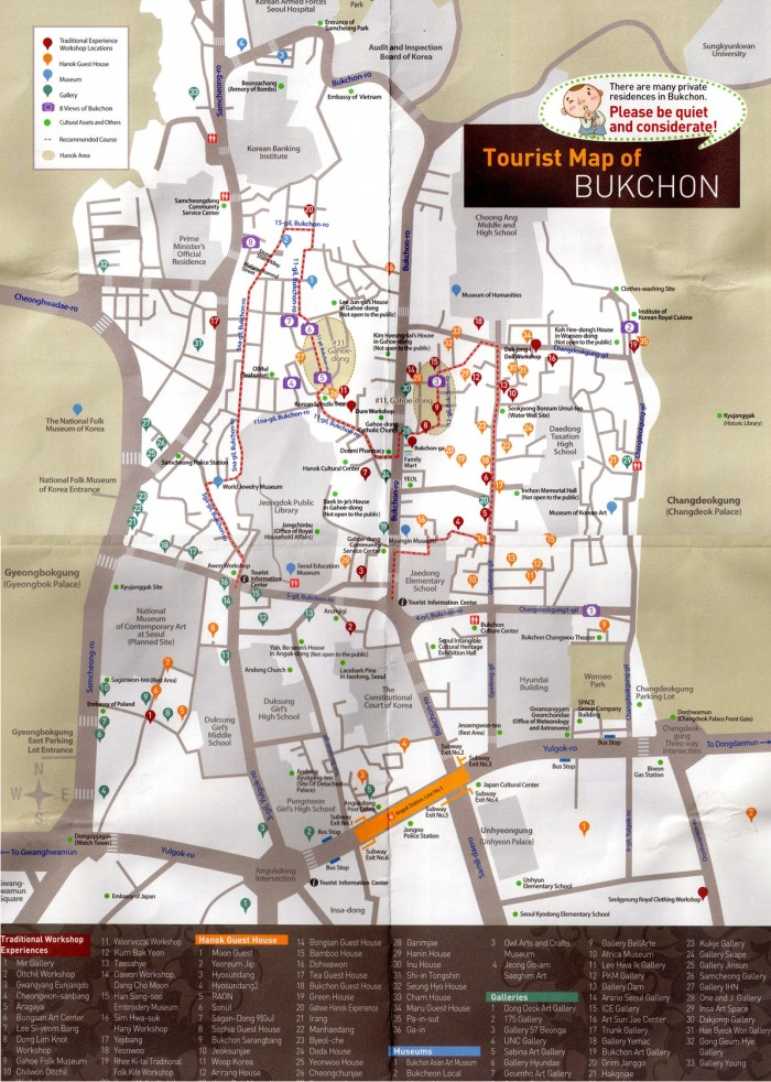 map of bukchon seoul korea
