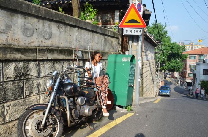 zara leopard print trousers bukchon seoul korea