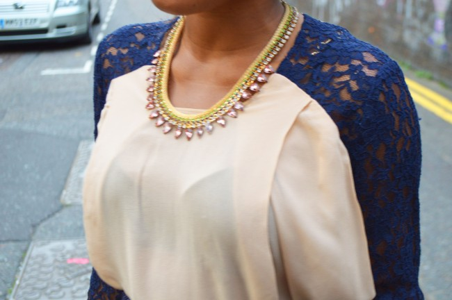 LiLee for Asos lace insert shirt, Statement necklace