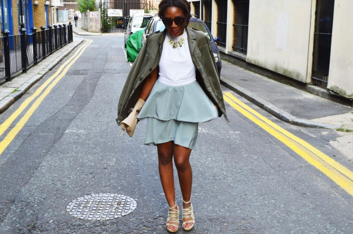 military jacket, mint frill dress stetament baroque necklace skull clutch round tortoise sunglasses