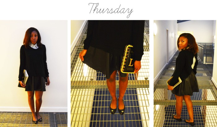 Ebay shirt and knit top, H&M leather skirt, Fendi ballerina shoes, Ebay book clutch