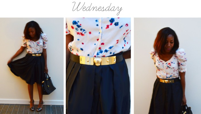 Maje flower blouse, Tara Jarmon skirt, Burberry metallic heels, Zara belt, Leather bag