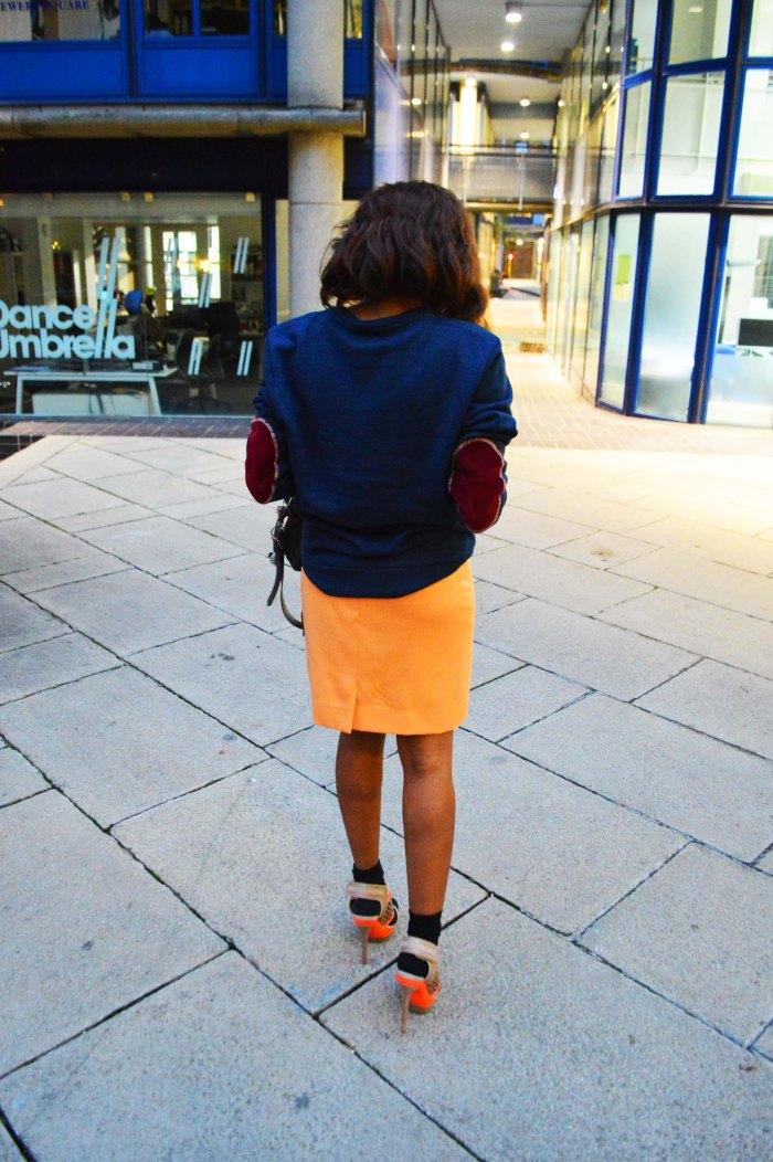 Club 75 sweater, orange pencil skirt, zara satchel, Cress. E Dim ear cuff, sport chic look