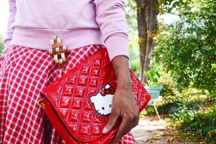 H&M glitter sweater, Olivier Theyskens split thigh dress, Victoria Casal Couture Hello Kitty bag, Uterque geometric brooch, Zara red sandals