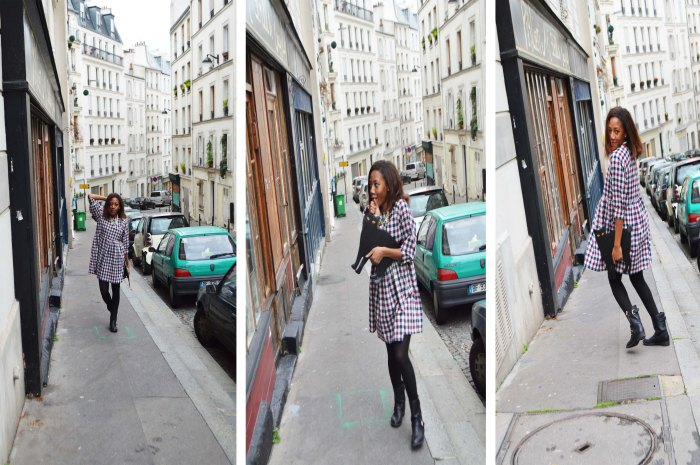 Montmartre Zara Hooded Parka, The White Pepper checked dress, Primark Ankle Biker Boots, Black Cat clutch