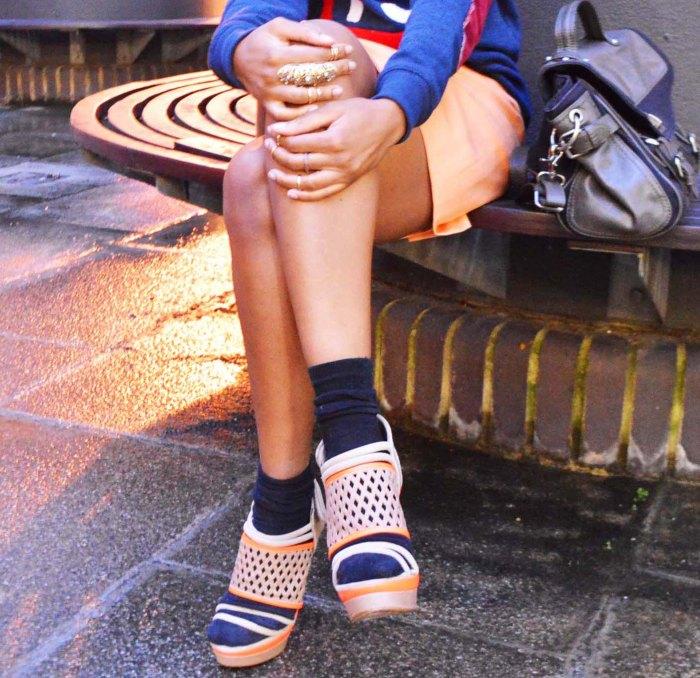 Club 75 sweater, orange pencil skirt, zara satchel, Cress. E Dim ear cuff, sport chic look, Asos stack of midi rings