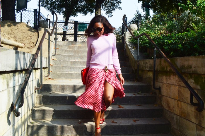 H&M glitter sweater, Olivier Theyskens split thigh dress, Victoria Casal Couture Hello Kitty bag, Uterque geometric brooch, Cross my heart hope to die oversized round sunglasses, Zara red sandals