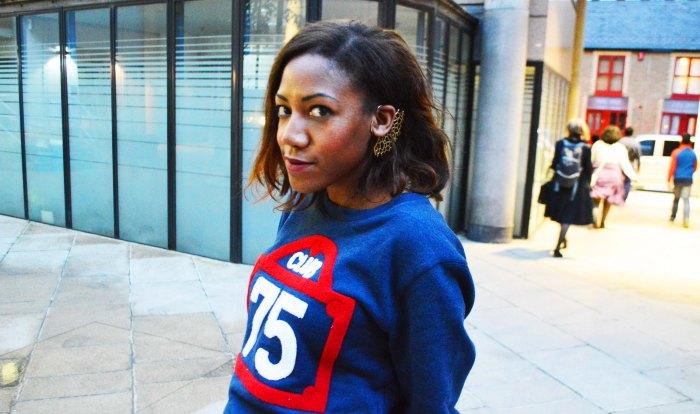 Club 75 sweater, Cress. E Dim ear cuff, sport chic look