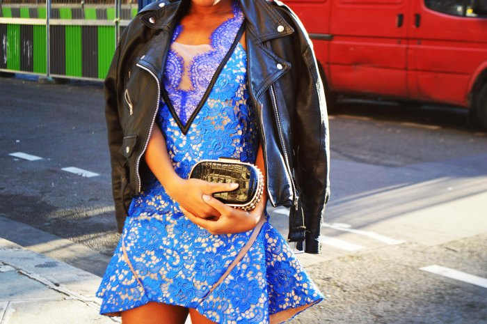Three Floor About a girl dress, patent chelse ankle boots, biker jacket, BCBG Max Azria studded clutch, cat eye sunglasses