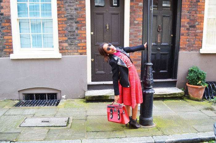 L.Y.D.C red school satchel, H&M Burberry style heart print blouse, brown ankle boots, vintage red tweed full skirt, round flip sunglasses, Zara leather collar jacket
