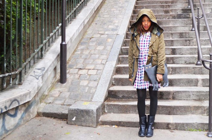 Paris Montmartre Zara Hooded Parka, The White Pepper checked dress, Primark Ankle Biker Boots, Black Cat clutch