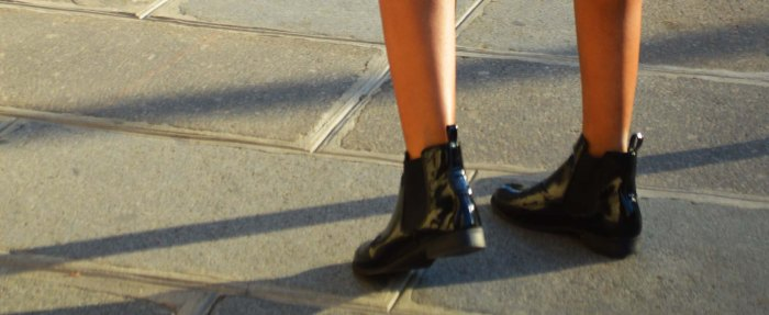 patent chelsea ankle boots