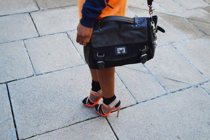 orange pencil skirt, zara satchel, Cress. E Dim ear cuff, sport chic look