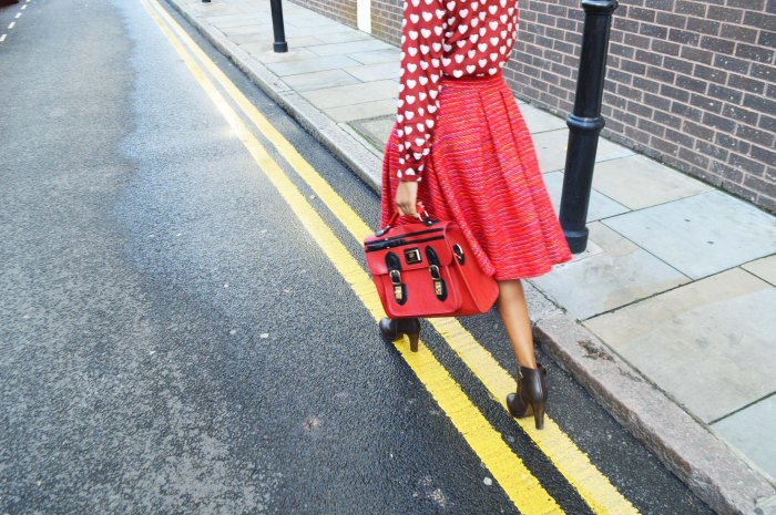L.Y.D.C red school satchel, H&M Burberry style heart print blouse, brown ankle boots, vintage red tweed full skirt