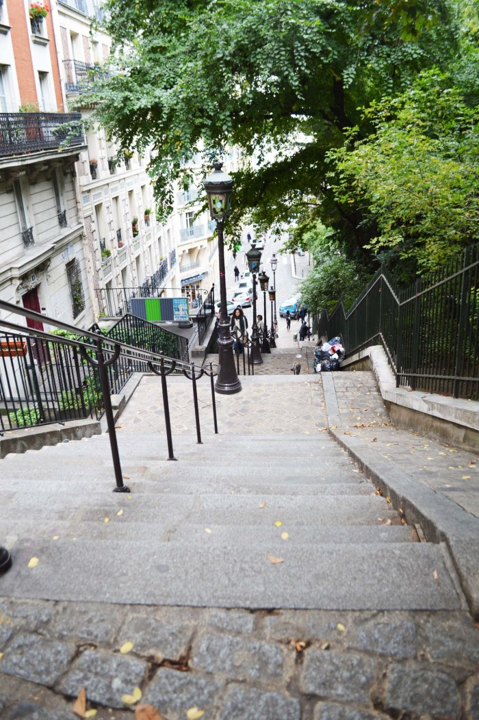 Paris Montmartre cobbled street and stairs