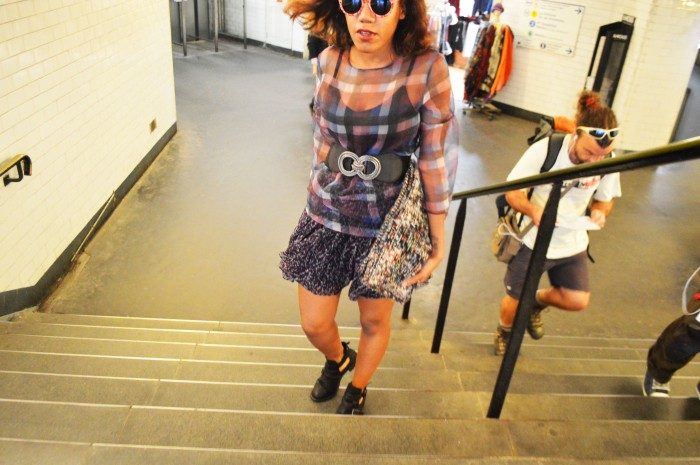 Zara tartan sheer top Armani exchange flower print skirt BCBG Max Azria doucle circle belt Zara tweed clutch cutout ankle boots flower wayfarer sunglasses