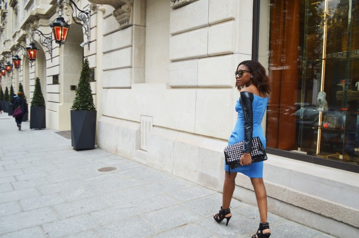 Paris Fashion week off the shoulder leather sleeve dress studded heels studded clutch Asos mirrored sunglasses