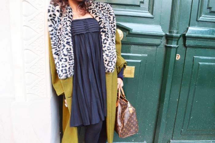 vintage oversized leopard coat, louis vuitton bag, platform ankle boots, maje dress