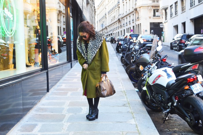 vintage oversized leopard coat, louis vuitton bag, platform ankle boots