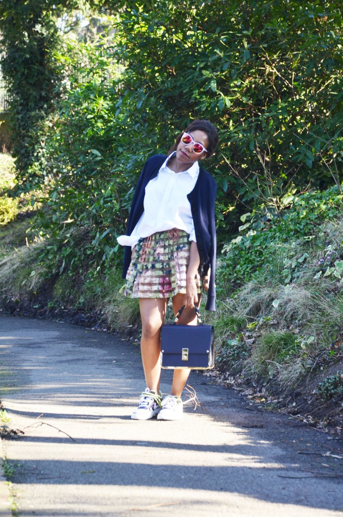 Boyfriend shirt, zara flora pleated skirt, Nike trainers, Quay Autralia sunglasses, Dune box bag, spring 2014 trend