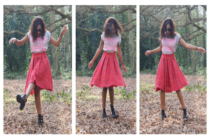 tweed midi skirt, Quay cat eye snglasses, Monki lips smile clutch, cutout ankle boots, Parental Advisory T shirt Asos