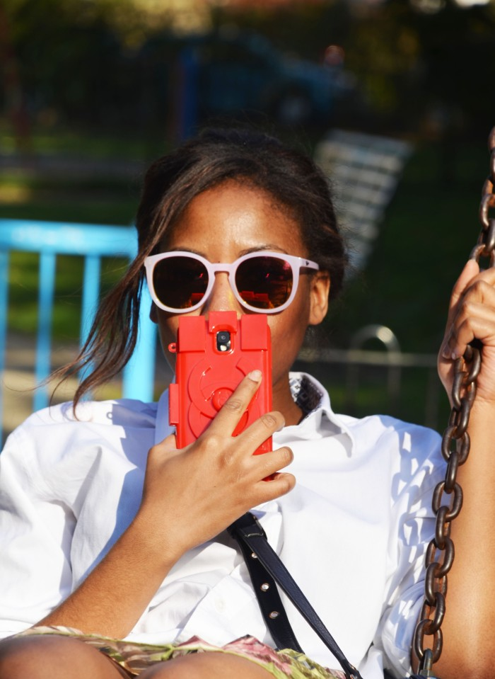 Boyfriend shirt, Quay Australia sunglasses, Chanel Lego phone case